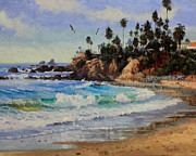 Flying Seagull Painting Framed Prints - Laguna Beach  Framed Print by Gary Kim