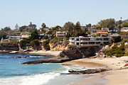 Southern Homes Posters - Laguna Beach Waterfront Homes Poster by Paul Velgos