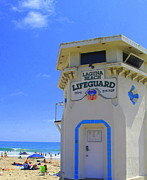 Surf Silhouette Prints - Laguna Lifeguard Tower   Print by Linda Marshutz