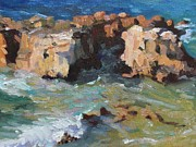 Heisler Park Paintings - Laguna Rocks by Marian Fortunati
