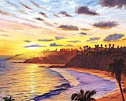 Beach Painting Posters - Laguna Village Sunset Poster by Steve Simon
