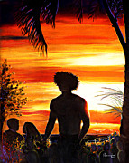 Surf Silhouette Originals - Lahaina At Dusk by Nanybel Salazar