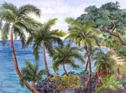 Lahaina Prints - Lahaina Shoreline Print by Bonnie Sue Schwartz