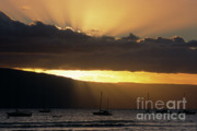 Crepuscular Rays Prints - Lahaina Sunset - Maui Print by Sandra Bronstein