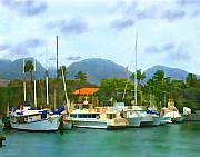 Tropical Prints - Lahina Harbor Print by Kurt Van Wagner