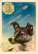 Technological Framed Prints - Laika The Space Dog Postcard Framed Print by Detlev Van Ravenswaay