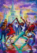 Playing Music Painting Originals - Laissez Les Temps Rouler by Saundra Bolen Samuel