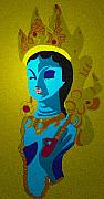 Hindu Goddess Mixed Media Metal Prints - Lakashimi Gold Metal Print by Jennifer Ott