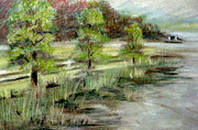 Painterly Pastels Posters - Lake Acworth Fisherman Poster by Gretchen Allen