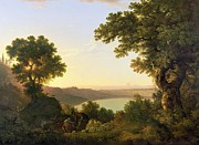 Italian Landscape Paintings - Lake Albano - Italy by Thomas Jones