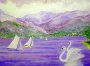 Swans... Mixed Media - Lake Annecy France by Fred Jinkins