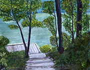 Cincinnati Paintings - Lake at Burnet Woods by Shilpi Goenka