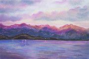 Blues Pastels Posters - Lake at Dusk Poster by Julie Brugh Riffey