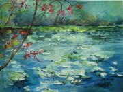 Waterlillys Paintings - Lake at Jacksonville Arboretum by Marilyn Masters