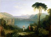 Joseph Photo Framed Prints - Lake Avernus - Aeneas and the Cumaean Sibyl Framed Print by Joseph Mallord William Turner
