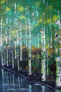 Waterfalls Paintings - Lake Birch by Gary Smith