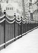 Iron  Posters - Lake Bluff Illinois, Iron Fence Covered With Snow Poster by Trina Dopp Photography