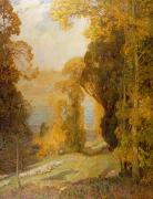 Lake Art - Lake Bourget from Mont Revard  by Sir Alfred East