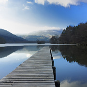 Wooden Dock Prints - Lake Chambon. Auvergne. France Print by Bernard Jaubert