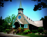 Art Glass Picture Prints - Lake Church Print by Perry Webster