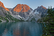 Alpine Lake Framed Prints - Lake Colchuck Sunset Framed Print by Mike Reid