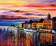 Featured Painting Metal Prints - Lake Como - Bellagio  Metal Print by Leonid Afremov