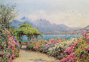 Tuscan Landscapes Paintings - Lake Como from the Villa Carlotta by Ernest Arthur Rowe