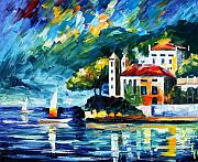 Building Painting Originals - Lake Como Italy by Leonid Afremov
