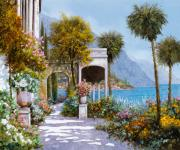 Flower Tapestries Textiles Posters - Lake Como-la passeggiata al lago Poster by Guido Borelli