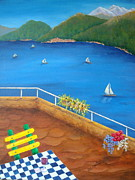 Panorama Painting Originals - Lake Como by Pamela Allegretto