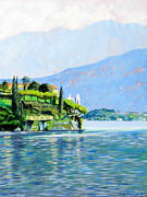 Villa Paintings - Lake Como Villa  by Darrell Sheppard