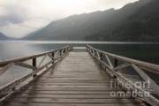 Mountains And Lake Prints - Lake Crescent Dock Print by Carol Groenen