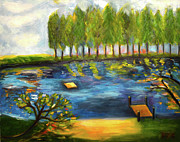Sizes Painting Prints - Lake Day Print by Karen Francis