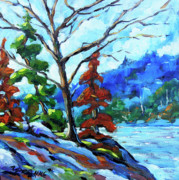 Canadian Artist Painter Painting Originals - Lake Edge by Richard T Pranke
