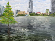 Ocala Painting Framed Prints - Lake Eola Framed Print by Larry Whitler