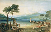 Sail Boats Prints - Lake Geneva and Mont Blanc Print by Joseph Mallord William Turner