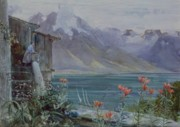 Water-colour Prints - Lake Geneva Print by John William Inchbold