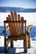Wooden Chair Prints - Lake George Winter Tranquility Print by George Oze