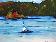 White Water Rafting Paintings - Lake Glenville  SOLD by Lil Taylor
