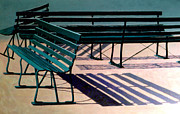 Benches Paintings - Lake Harriet Benches by David Rickert