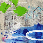 Abstract Landscape Mixed Media Prints - Lake Houses Print by Linda Woods