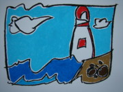 Fun Pastels Posters - Lake Huron Lighthouse Poster by Pat  Lackenbauer