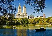 Central Park Skyline Prints - Lake in Central Park Print by Allan Einhorn