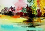 Anil Nene Mixed Media Posters - Lake in colours Poster by Anil Nene