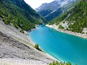 Turquoise Mountain Lake Prints - Lake In Livigno - Northern Side Print by 33462347