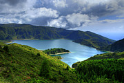 Locations Photo Framed Prints - Lake in the Azores Framed Print by Gaspar Avila