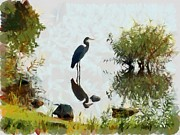 Jordan Painting Posters - Lake Jordans Great Blue Heron Poster by Robin Huggins