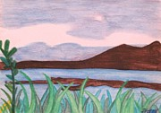 Water Colour Drawings - Lake Landscape by Philippa Tisdell