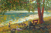 Eureka Springs Painting Prints - Lake Leatherwood Bench and Geese Print by Jody Stephenson