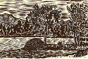 Pebbles Drawings Prints - Lake Leek Print by Al Goldfarb
